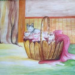 cats in basket, 23 x 17 inch, shabana hussain,23x17inch,cartridge paper,drawings,paintings for bedroom,paintings for kids room,paintings for school,abstract drawings,art deco drawings,fine art drawings,paintings for bedroom,paintings for kids room,paintings for school,acrylic color,enamel color,watercolor,paper,GAL01705028619