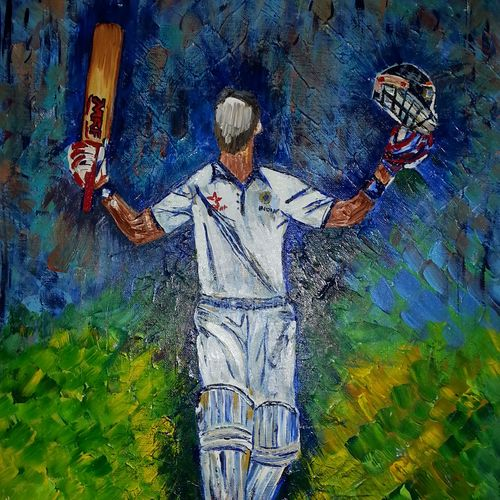 virat-the majestic cricket warrior, 18 x 24 inch, neeraj raina,abstract paintings,paintings for living room,canvas,acrylic color,18x24inch,GAL02732862