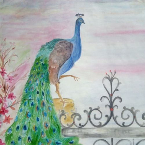 peacock, 17 x 23 inch, shabana hussain,17x23inch,cartridge paper,drawings,paintings for living room,paintings for bedroom,paintings for school,paintings for hospital,abstract drawings,conceptual drawings,cubism drawings,paintings for living room,paintings for bedroom,paintings for school,paintings for hospital,acrylic color,ink color,watercolor,paper,GAL01705028623