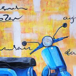 scooter, 30 x 20 inch, neha mehta,30x20inch,canvas board,abstract paintings,modern art paintings,contemporary paintings,acrylic color,GAL01452228627