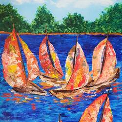 sailboats, 12 x 16 inch, neha mehta,12x16inch,canvas,paintings,abstract paintings,cityscape paintings,landscape paintings,modern art paintings,nature paintings | scenery paintings,acrylic color,GAL01452228629