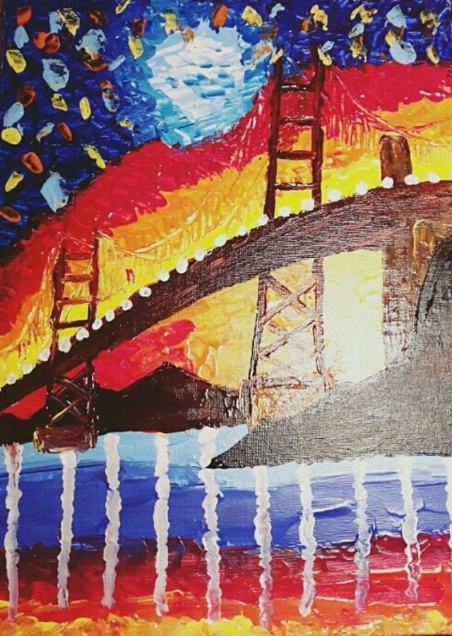 City glitters knife painting