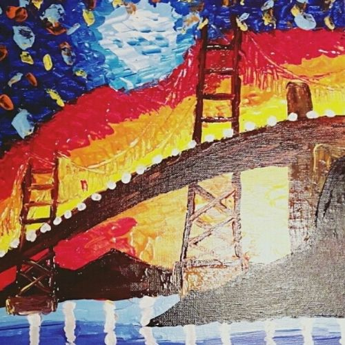 city glitters - knife, 12 x 16 inch, amrita kaur khalsa,cityscape paintings,paintings for living room,canvas,acrylic color,12x16inch,GAL011172863