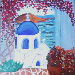 santorini, greece, 12 x 16 inch, amrita kaur khalsa,cityscape paintings,paintings for office,canvas,acrylic color,12x16inch,GAL011172864
