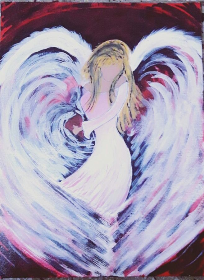 love angel, 12 x 16 inch, amrita kaur khalsa,abstract paintings,paintings for office,canvas,acrylic color,12x16inch,GAL011172865