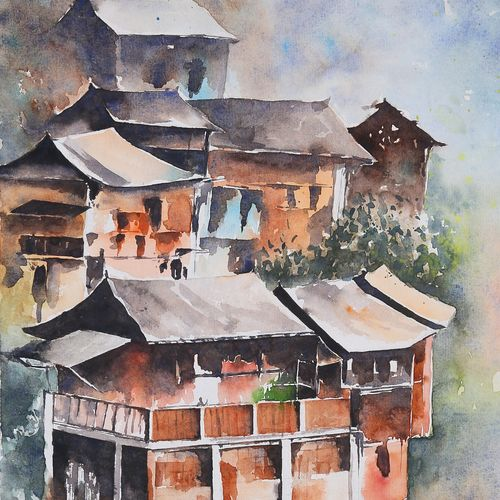 pahadi house in water colour, 14 x 15 inch, manish pandey,14x15inch,paper,still life paintings,realism paintings,phad painting,paintings for dining room,paintings for living room,paintings for bedroom,paintings for office,paintings for dining room,paintings for living room,paintings for bedroom,paintings for office,watercolor,GAL01670028664