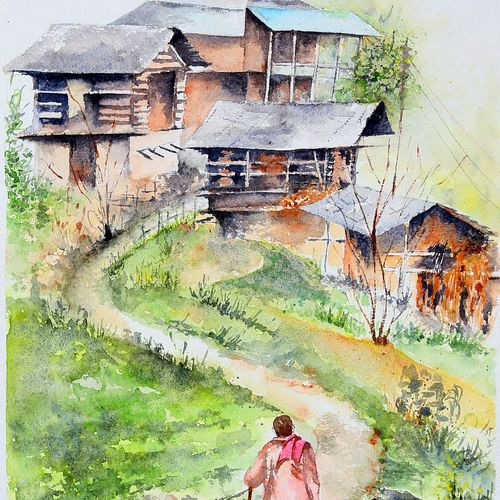 village life water color, 15 x 21 inch, manish pandey,15x21inch,paper,paintings,still life paintings,nature paintings   scenery paintings,paintings for dining room,paintings for living room,paintings for bedroom,paintings for office,watercolor,GAL01670028665