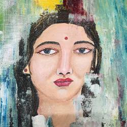 somber portrait , 10 x 12 inch, nidhi choudhari,10x12inch,canvas,paintings,abstract paintings,portrait paintings,paintings for hotel,acrylic color,oil color,GAL01583528674