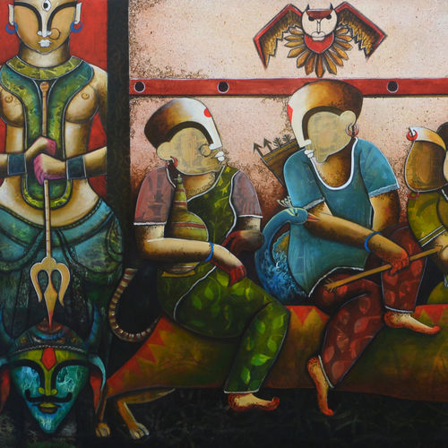 durga , 72 x 48 inch, anupam  pal,72x48inch,canvas,paintings,ganesha paintings | lord ganesh paintings,contemporary paintings,lord shiva paintings,paintings for dining room,paintings for living room,paintings for bedroom,paintings for office,paintings for bathroom,paintings for kids room,paintings for hotel,paintings for kitchen,paintings for school,paintings for hospital,acrylic color,mixed media,GAL08228697