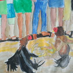 chicken fight, 12 x 6 inch, sainath reddy,12x6inch,thick paper,paintings,abstract paintings,religious paintings,paintings for bedroom,oil color,paper,GAL01701728703