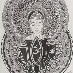 mandala art, 11 x 14 inch, himani dubey,11x14inch,drawing paper,drawings,fine art drawings,buddha drawings,pen color,ball point pen,paper,GAL01751128705
