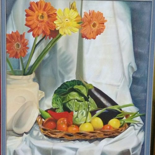 garden fresh , 24 x 30 inch, geetu thakur,24x30inch,canvas,paintings,flower paintings,still life paintings,contemporary paintings,paintings for dining room,paintings for living room,paintings for bedroom,paintings for office,paintings for kids room,paintings for hotel,paintings for kitchen,paintings for school,paintings for hospital,oil color,GAL01726128721