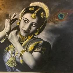 bharatnatyam dancer , 40 x 30 inch, geetu thakur,40x30inch,canvas,paintings,figurative paintings,portrait paintings,realistic paintings,paintings for dining room,paintings for living room,paintings for bedroom,paintings for office,paintings for kids room,paintings for hotel,paintings for kitchen,paintings for school,paintings for hospital,oil color,GAL01726128724