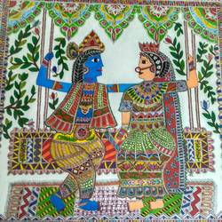 radha- krishna madhubani, 22 x 22 inch, srishti jain,radha krishna paintings,paintings for living room,love paintings,madhubani paintings,canvas board,acrylic color,22x22inch,GAL011252873heart,family,caring,happiness,forever,happy,trust,passion,romance,sweet,kiss,love,hugs,warm,fun,kisses,joy,friendship,marriage,chocolate,husband,wife,forever,caring,couple,sweetheart