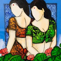 riddhi siddhi , 36 x 36 inch, mrinal  dutt,36x36inch,canvas,paintings,figurative paintings,religious paintings,ganesha paintings | lord ganesh paintings,contemporary paintings,paintings for dining room,paintings for living room,paintings for bedroom,paintings for office,paintings for hotel,paintings for kitchen,paintings for hospital,acrylic color,GAL01311728730
