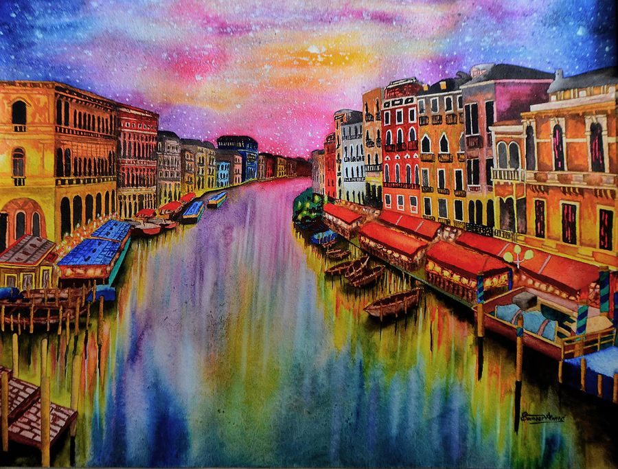 december, 30 x 23 inch, samit kamar,30x23inch,handmade paper,paintings,cityscape paintings,paintings for dining room,watercolor,GAL0443428736