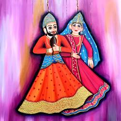 royal maniorettes, 30 x 30 inch, sunita mathur,30x30inch,canvas,folk art paintings,paintings for living room,paintings for living room,oil color,GAL01727228738