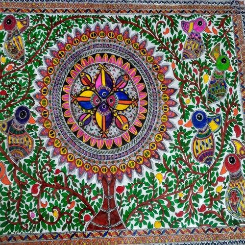 nature- madhubani, 25 x 18 inch, srishti jain,folk art paintings,paintings for living room,madhubani paintings,canvas board,acrylic color,25x18inch,GAL011252874