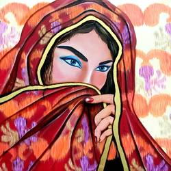 princess demure, 28 x 28 inch, sunita mathur,28x28inch,canvas,figurative paintings,paintings for bedroom,paintings for bedroom,oil color,GAL01727228740