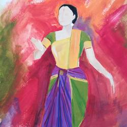 dancer 1, 12 x 10 inch, neha  agarwal,12x10inch,thick paper,paintings,abstract paintings,paintings for living room,paintings for bedroom,paintings for office,paintings for hotel,paintings for school,paintings for hospital,poster color,paper,GAL01749628743