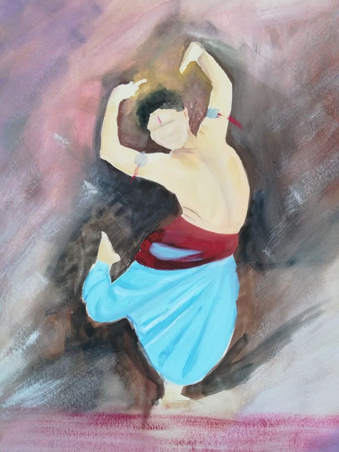 dancer 3, 12 x 10 inch, neha  agarwal,12x10inch,thick paper,paintings,abstract paintings,paintings for living room,paintings for bedroom,paintings for office,paintings for hotel,paintings for school,paintings for hospital,poster color,paper,GAL01749628746