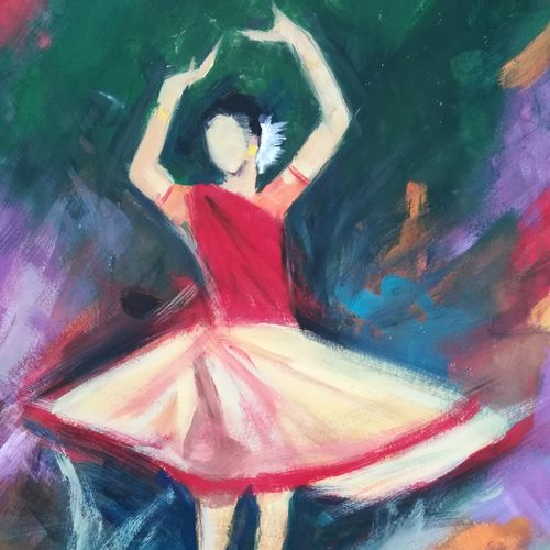 dancer 5, 10 x 12 inch, neha  agarwal,10x12inch,thick paper,paintings,abstract paintings,paintings for living room,paintings for bedroom,paintings for office,paintings for hotel,paintings for school,paintings for hospital,poster color,paper,GAL01749628748