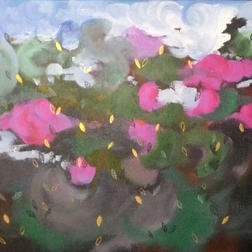 nature 4, 24 x 18 inch, subrata kundu,abstract paintings,paintings for bedroom,flower paintings,canvas,acrylic color,24x18inch,GAL011112879