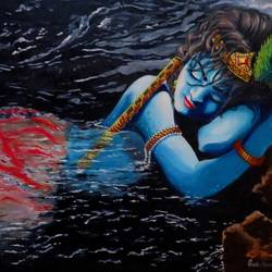 krishna with jamuna river, 35 x 24 inch, shiuli majumder,35x24inch,canvas,paintings,religious paintings,oil color,GAL01355228795