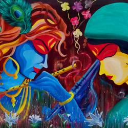 goddess krishna & mira, 35 x 25 inch, shiuli majumder,35x25inch,canvas,paintings,religious paintings,oil color,GAL01355228796