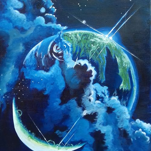 our world, 13 x 17 inch, shiuli majumder,13x17inch,canvas,paintings,modern art paintings,nature paintings | scenery paintings,oil color,GAL01355228797