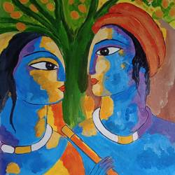 radha and krishna, 16 x 16 inch, abhik mahanti,16x16inch,canvas,paintings,religious paintings,acrylic color,GAL0404428798