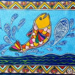 flying fish, 16 x 12 inch, akanksha sinha,16x12inch,canvas,wildlife paintings,folk art paintings,animal paintings,paintings for living room,paintings for kids room,paintings for school,paintings for living room,paintings for kids room,paintings for school,acrylic color,pen color,GAL01104128804