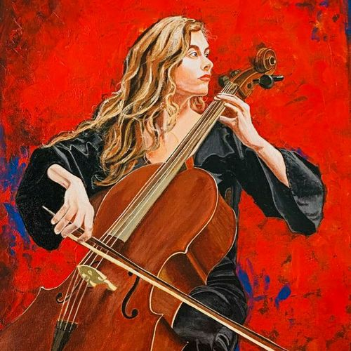 lady playing cello, 18 x 24 inch, suman  chawla ,18x24inch,canvas,paintings,figurative paintings,acrylic color,GAL01767428805