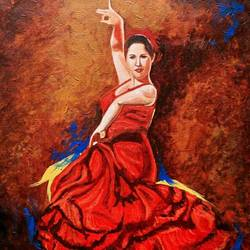 flamenco dancer, 18 x 24 inch, suman  chawla ,18x24inch,canvas,paintings,figurative paintings,paintings for living room,acrylic color,GAL01767428806