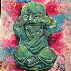 wise monk .. see no evil , 16 x 20 inch, suman  chawla ,16x20inch,canvas,paintings,buddha paintings,paintings for dining room,paintings for living room,paintings for bedroom,paintings for office,paintings for kids room,paintings for hotel,paintings for school,paintings for hospital,acrylic color,GAL01767428807