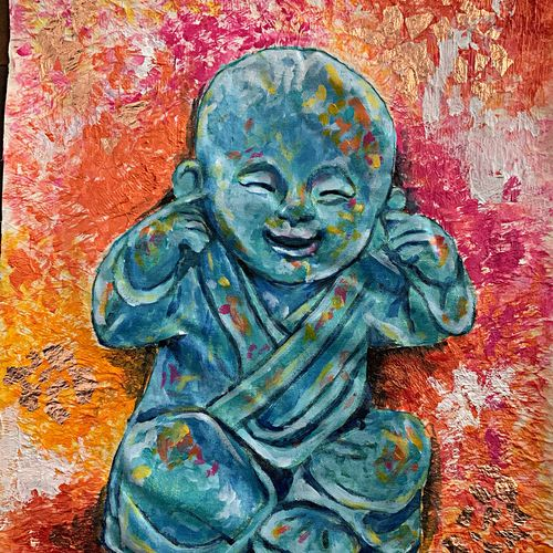the wise monk - hear no evil , 16 x 20 inch, suman  chawla ,16x20inch,canvas,paintings,buddha paintings,paintings for dining room,paintings for living room,paintings for bedroom,paintings for office,paintings for kids room,paintings for hotel,paintings for school,paintings for hospital,acrylic color,GAL01767428808