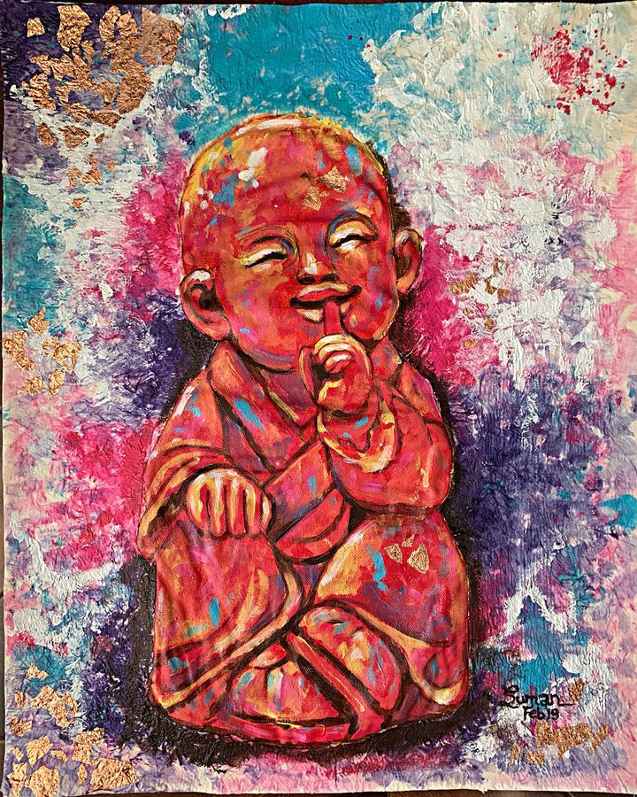 the wise monk - speak no evil , 16 x 20 inch, suman  chawla ,16x20inch,canvas,paintings,buddha paintings,paintings for dining room,paintings for living room,paintings for bedroom,paintings for office,paintings for kids room,paintings for hotel,paintings for school,paintings for hospital,acrylic color,GAL01767428810