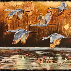 home return of cranes at sunset, 18 x 24 inch, suman  chawla ,18x24inch,canvas,nature paintings | scenery paintings,paintings for dining room,paintings for living room,paintings for bedroom,paintings for office,paintings for kids room,paintings for hotel,paintings for hospital,paintings for dining room,paintings for living room,paintings for bedroom,paintings for office,paintings for kids room,paintings for hotel,paintings for hospital,acrylic color,GAL01767428816