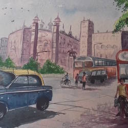 morning time city., 15 x 21 inch, shiuli majumder,15x21inch,handmade paper,paintings,cityscape paintings,watercolor,GAL01355228820