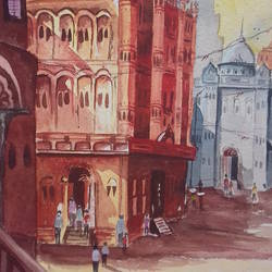 temple., 15 x 21 inch, shiuli majumder,15x21inch,handmade paper,paintings,landscape paintings,watercolor,GAL01355228822
