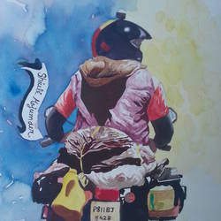 bike rider, 13 x 19 inch, shiuli majumder,13x19inch,brazilian paper,paintings,figurative paintings,watercolor,GAL01355228830