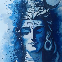 painting of lord shiva, 13 x 19 inch, shiuli majumder,13x19inch,brazilian paper,paintings,lord shiva paintings,watercolor,GAL01355228831
