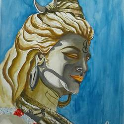 painting of lord shiva, 13 x 19 inch, shiuli majumder,13x19inch,brazilian paper,paintings,lord shiva paintings,watercolor,GAL01355228832
