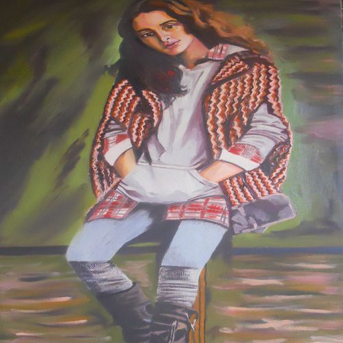indian model, 15 x 30 inch, amruta dabhekar,portrait paintings,paintings for office,canvas,mixed media,15x30inch,GAL09542884