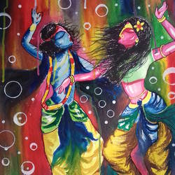 krishna &,radha, 22 x 29 inch, shiuli majumder,22x29inch,handmade paper,paintings,radha krishna paintings,watercolor,GAL01355228855