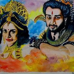 shiv &parvati, 13 x 19 inch, shiuli majumder,13x19inch,brazilian paper,paintings,lord shiva paintings,watercolor,GAL01355228857