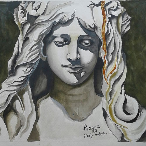 a girl, 13 x 19 inch, shiuli majumder,13x19inch,brazilian paper,paintings,abstract paintings,watercolor,GAL01355228858