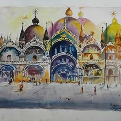 masjid, 13 x 19 inch, shiuli majumder,13x19inch,brazilian paper,paintings,abstract paintings,religious paintings,watercolor,GAL01355228859