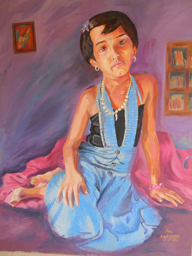 innocent indian girl, 24 x 30 inch, amruta dabhekar,portrait paintings,paintings for office,canvas,oil,24x30inch,GAL09542886