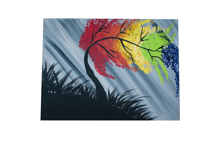 rainbow tree, 16 x 12 inch, shallu kaur,16x12inch,canvas,paintings,nature paintings | scenery paintings,paintings for dining room,paintings for living room,paintings for bedroom,paintings for office,paintings for kids room,paintings for hotel,paintings for school,acrylic color,GAL01713328861